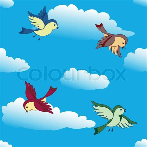 Birds flying in sky | Stock Vector | Colourbox